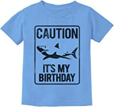 TeeStars - Shark Sign Caution It's My Birthday Gift Idea Toddler Kids T-Shirt