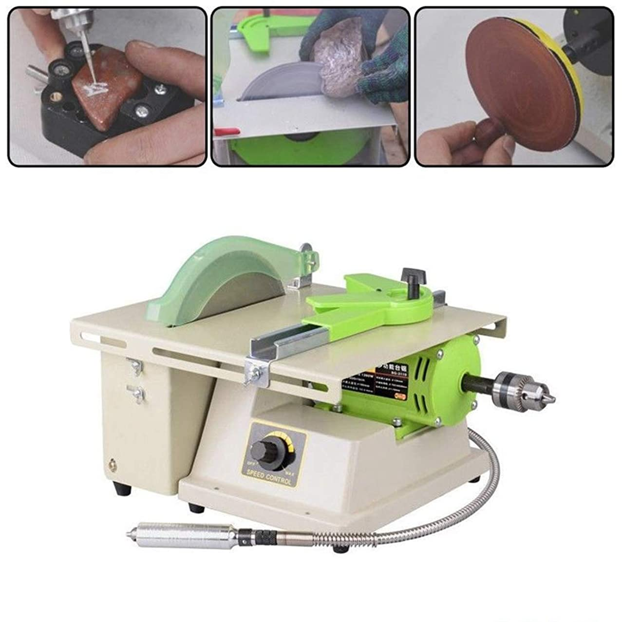 TongBF Multifunctional High-Power Jade Wood Carving Tool Jewelry Rock Polishing Drilling Bench Lathe Electric Grinder for Cutting and Polishing, 220V 1380W 500~7000rpm