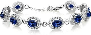Gem Stone King 925 Sterling Silver Blue Simulated Sapphire Tennis Bracelet 12.88 Ctw