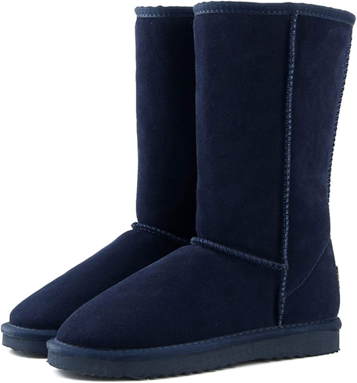 JIU SI Genuine Leather Fur Snow Boots Women Top Boots Winter Boots for Women Warm (Color : Navy Blue, Size : 38)