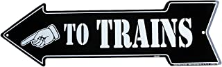 TO TRAINS arrow - Model Train Room Tin Wall Sign or Plaque