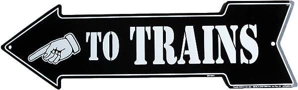 火车箭头模型火车房间铁皮墙标志或牌匾