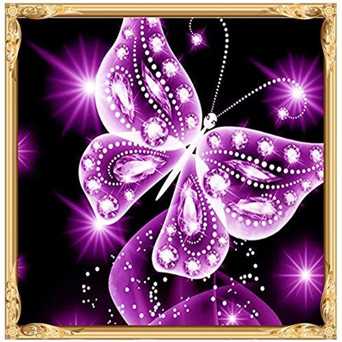 Xmiral Diamond Painting Set,Schmetterling,25x25cm,5D Diamonds Malerei Set Full Stickerei Bilder DIY (Violett)