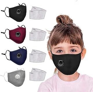 4pcs Kids Reusable Cotton Face Bandanas with Breathing Valve 8pcs Replaceable Haze Dust Activated Carbon Filters for Children Face Health (4 pcs+8 Filters, Multicolor)