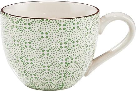 Preisvergleich für BUTLERS Retro Tasse 550ml - Grüne Kaffeetasse Vintage Design – Hochwertige Porzellantasse, Kaffeebecher, bunte Teetasse