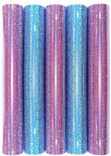 Juego de 5 láminas de transferencia con purpurina y purpurina A4 para planchar sobre textiles, perfectas para plottern, color Juego de 5 arcoíris rosa y azul.