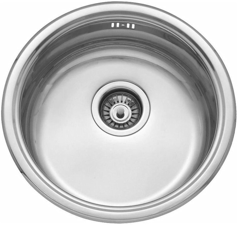 FITTINGSCO Stainless Steel 450mm Diameter Round Inset Single Bowl Kitchen Sink