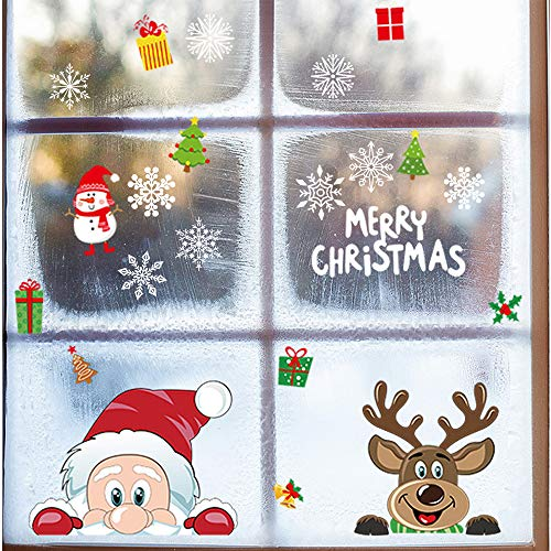 BlueXP 12 Blatt Weihnachtsfenster Aufkleber Statisch Aufkleber Santa Elch Schneemann und Schneeflocken in verschiedenen Formen Abnehmbar für Schaufenster Vitrinen Glasfronten Weihnachtsdeko