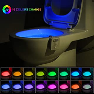 Toilet Night Light, Motion Detection Toilet Bowl Light, Motion Sensor Activated LED Lamp with Aromatherapy Air Freshener, 16 Color Changing Seat Nightlight for Bathroom Washroom, Activates in Darkness