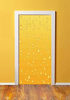 Yellow Decor 3D Door Sticker Wall Decals Mural Wallpaper,Yellow Ombre Background Like Beer in a Glass with Water Drops Graphic Art Prints,DIY Art Home Decor Poster Decoration 30.3x78.17830,Yellow