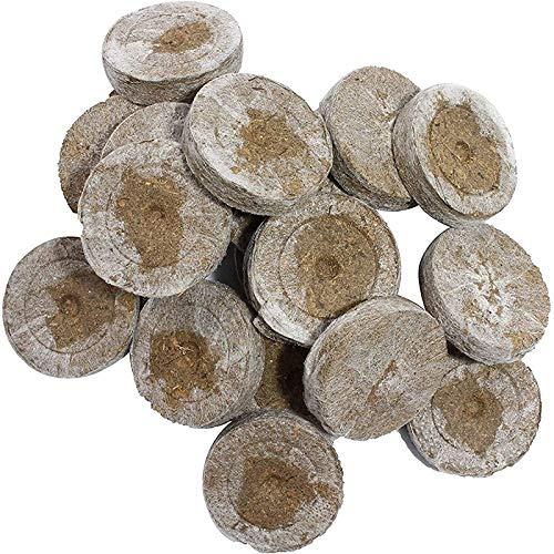 QWEWQE Kokos Quelltabletten Mit Nährstoffen, Abbaubar Quelltabletten Kokos Torf Anzucht Quelltöpfe Aussaaterde, Anzuchterde Torftablette für den Anbau von Gartenpflanzen (50pcs)
