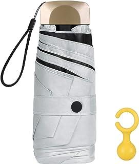 Vicloon Mini Paraguas, Paraguas de Viaje Portátil 6 Varillas, Paraguas Plegables con 210T Negro Tela de Goma, Aleación de ...