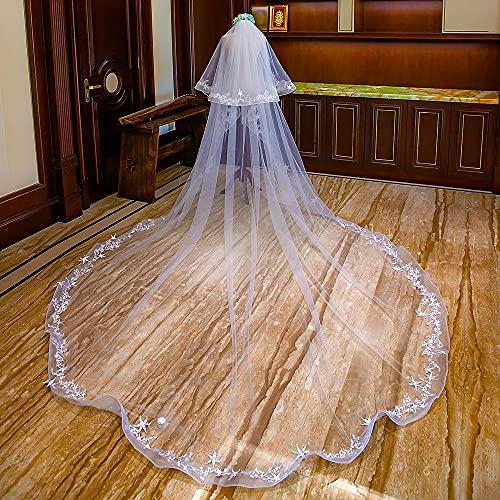 XFDMSM Store Véu de casamento estrelado com estrela de 2 camadas para noiva, véu de blusher de renda longa catedral com pente, 4 m/158 polegadas, branco