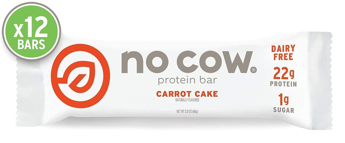 No Cow Protein Bar, Carrot Cake, 22g Plant Based Protein, Keto Friendly, Low Sugar, Dairy Free, Gluten Free, Vegan, High Fiber, Non-GMO,  12 Count