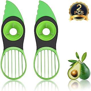 Kitchen Avocado Slicer Peeler, 3 in 1 Avocado Multifunctional Cutter Tool Slicer, 2 Pack Green