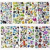 SAVITA 480+ Autocollants 3D pour Enfants et Tout-Petits Autocollants gonflés Autocollants d'animaux Mignons, y Compris Papillons, Insectes, Animaux Marins et Plus (12 Feuilles)
