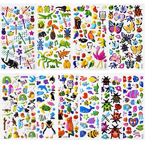 SAVITA Naklejka 3D dla dzieci i małych dzieci Puffy naklejka śliczne zwierzę naklejka 480+ z motylami, owadami, zwierzętami morskimi i innymi (12 arkuszy)