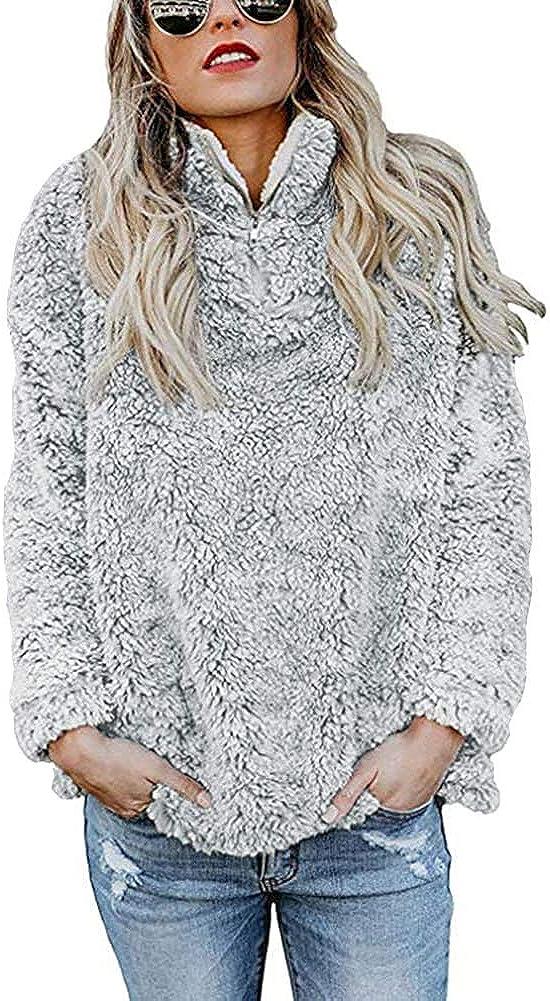 KUFV Women Long Sleeve Pullover Jumper Zipper Fleece Top Sweaters