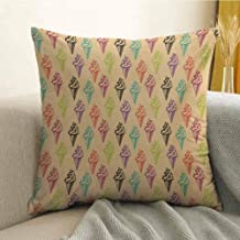 Antony Petty Ice Cream Bedding Soft Pillowcase Modern and Stylized Cone Icons with Grunge Colors Effects Artsy Summer Print Hypoallergenic Pillowcase W16 x L16 Inch Multicolor