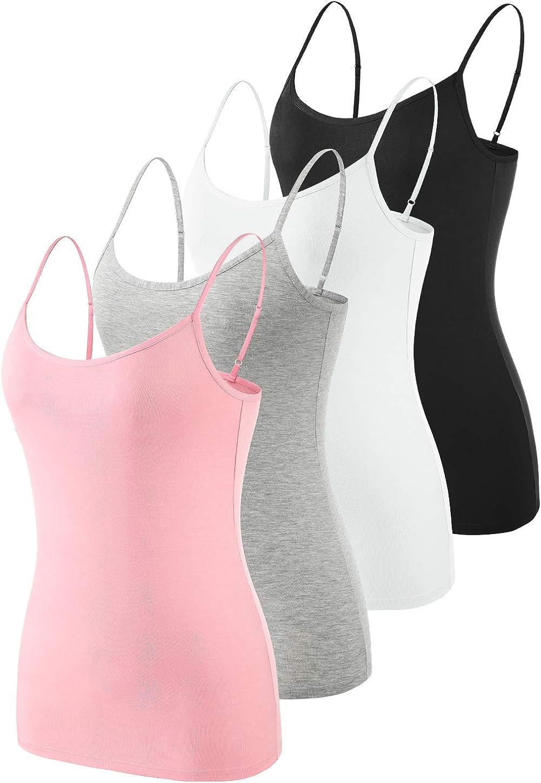 Rosyline Adjustable Camisoles Women Basic Undershirt Spaghetti Strap Tank Top 4 Pack