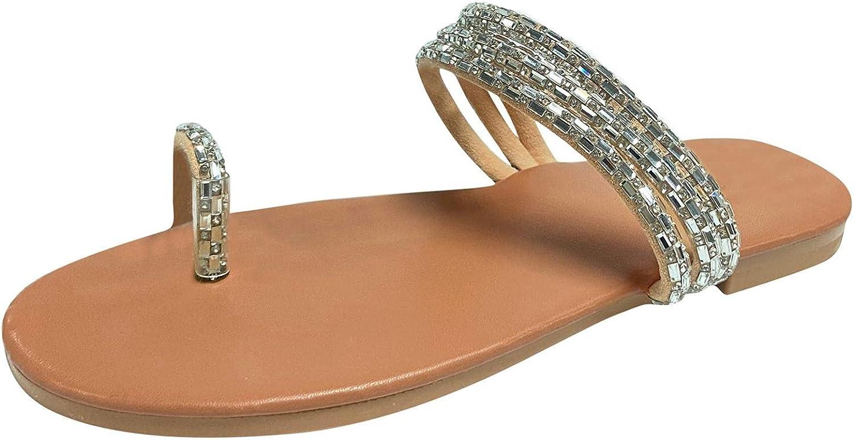 Jaqqra Sandals for Women Dressy Rhinestone Flat Flip Flop Sandals Slip On Open Toe Slippers Casual Summer Beach Sandals