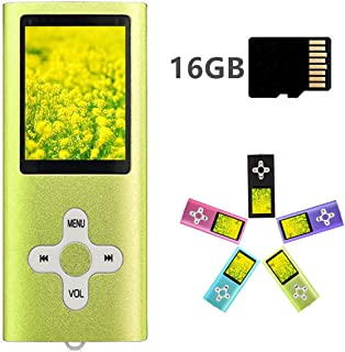 MP3 Player MP4 Player with a 16GB Micro SD Card, Runying Portable Music Player Support up to 64GB, Mini USB Port 1.8 LCD, with Photo Viewer, E-Book Reader, Voice Recorder and FM Radio Video (Green)