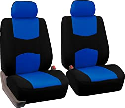 FH Group FH-FB050102 Pair Set Flat Cloth Car Seat Covers, Blue/Black - Fit Most Car, Truck, SUV, or Van