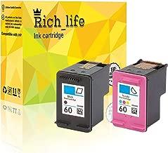 Rich_life Remanufactured Ink Toner Cartridge Replacement for HP 60 HP60 Compatible Printer Deskjet Envy Photosmart 2 Pack (1 Black, 1Color)