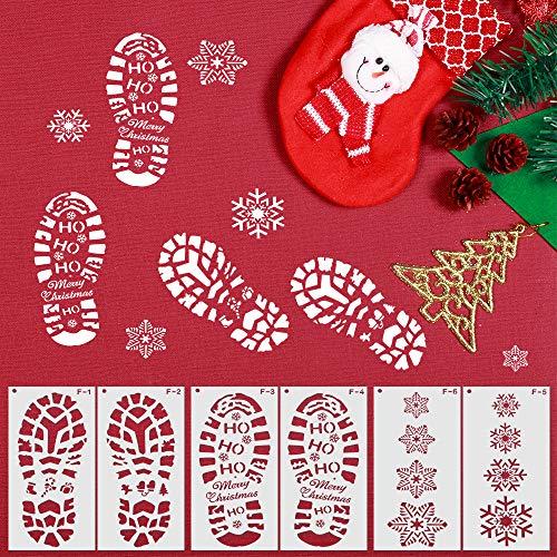 Schablonen Weihnachten, ZoneYan Weihnachtsschablonen Weihnachten, Schablone mit Weihnachtsmann-Fußabdruck, Zeichenschablonen, Schneeflocken schablone, Sprühen von Fenstern, Heiligabend Dekoration,6Stk