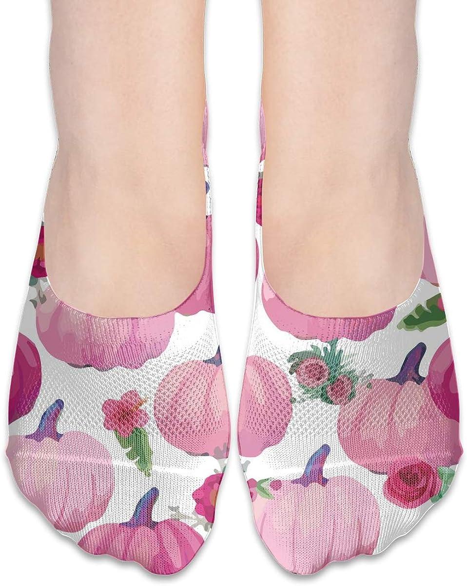 No Show Socks Women Men For Pink Pumpkins Thanksgiving Flats Cotton Ultra Low Cut Liner Socks Non Slip