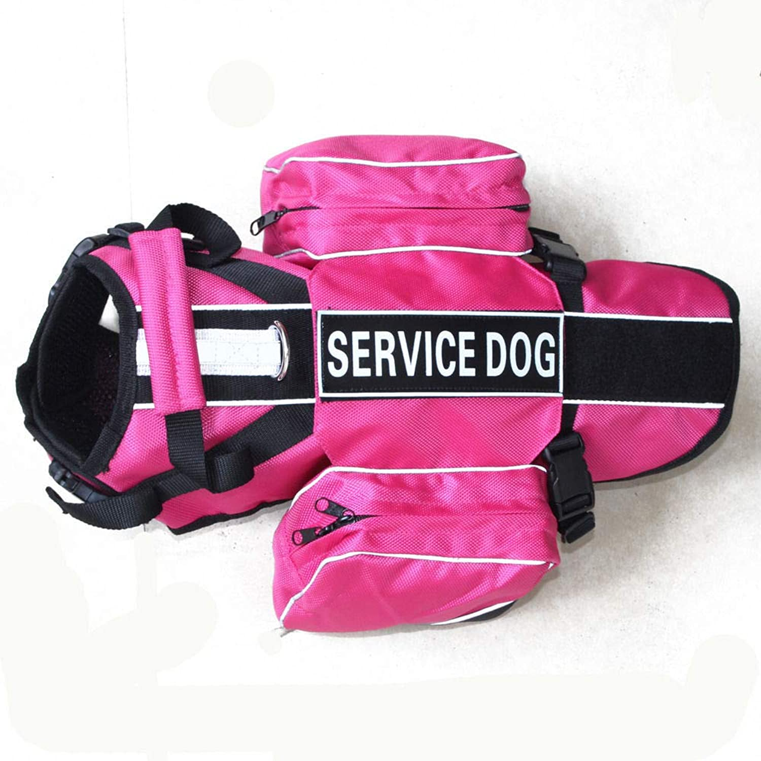 FidgetGear Service Dog Harness Vest 2 Patches with Removable Saddle Bags Pockets 5 colors Hot Pink M Fits Girth 20   24