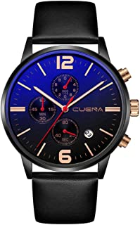 Men's Watches Business Quartz Wrist Watches Leather Band Black Chronograph and Calendar Display Male Classic Dress Watch