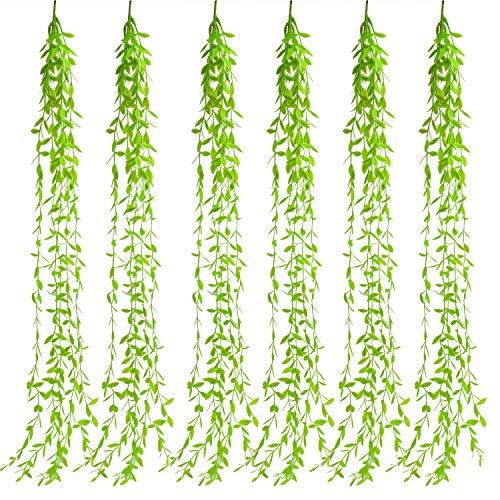 Udefineit - 6 varillas colgantes de sauce artificial de 105 cm, hojas de sauce falsas ramitas de color verde, cuerda de mimbre sintético para interiores y exteriores, decoración de bodas, fiestas