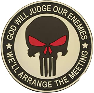 Cobra Tactical Solutions God Will Judge Our Enemies Punisher Military PVC Patch mit Klettverschluss für Airsoft Cosplay Paintball für Taktische Kleidung Rucksack