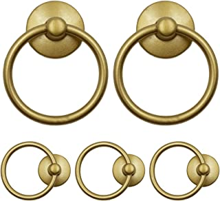 HONJIE 5 Pack Gold Cabinet Ring Pulls Handle Drop Ring Drawer Pulls Knobs