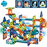 Glowing Magnetic Tiles Marble Run Race Track Super Set - 110 Complete Pieces Glow in the Dark STEM Light Magnetic Building Blocks and Gravity Maze Games for Toddlers Kids Boys Girls Ages 3+ Years Old