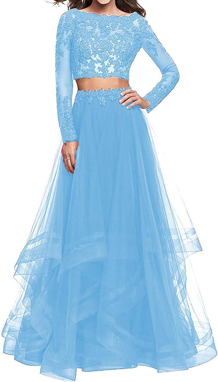 Women Tulle Beading 定番から日本未入荷 2 国内即発送 Piece Long Dresses 2021 Sleeve F Teen Prom