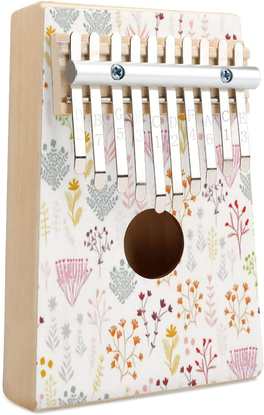 Tiny Max 48% OFF Handdrawn Botanical Floral M1 White Sale Special Price 10 Kalimba Piano Thumb