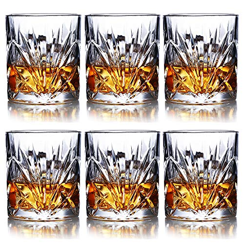 Whiskey Glasses Set of 6 - 10oz Premium Lead Free Crystal Whiskey Glass, Rock Style Old Fashioned...
