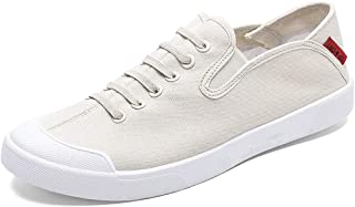 Shangruiqi Fashion Sneakers for Men Casual Skater Sports Shoes Low Top Elastic Lace Up Canvas Walking Shoes Round Toe Comfortable Anti-Wear (Color : White, Size : 8 UK)