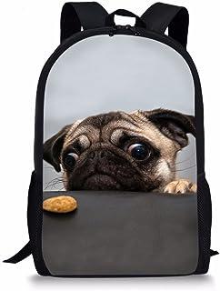 Cute Pug Dog Kids Backpack 8 Years Old Boys Girls Bookbags Lightweight Elementary School Bagpacks