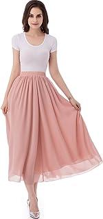 emondora Women's Chiffon Long A-line Retro Skirts Pleated Beach Maxi Skirt