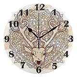 FETEAM Cabeza de Ciervo Mandala Adornado Vintage Boho Reloj de Pared Relojes silenciosos Reloj de Escritorio Vintage con Pilas 10 Pulgadas Cuarzo