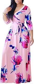 SheKiss Womens Casual V-Neck Floral Print Long Maxi Flowy Dress Plus Size Plain