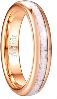خاتم من كربيد التنجستن الذهبي الوردي 4 مم للرجال والنساء مع الرخام انلاي الزفاف خواتم وعد الخطبة مريحة تناسب الحجم 5-12