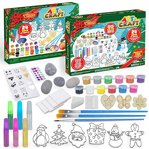 JOYIN 2021 Christmas Art and Craft Advent Calendar 24 Days Christmas Countdown Advent Calendar with Christmas Craft Kit Including Wooden Art, Rock Painting, Wooden Magnets and Painting Supplies