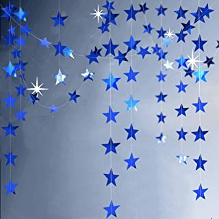 Decor365 Reflective Blue Star Garlands Streamer/Bunting/Backdrop Party Decoration Stars Hanging Decor for Frozen Birthday/Blue Silver Wedding/Engagement/Royal Baby Shower/Kids Room/Home Decorations