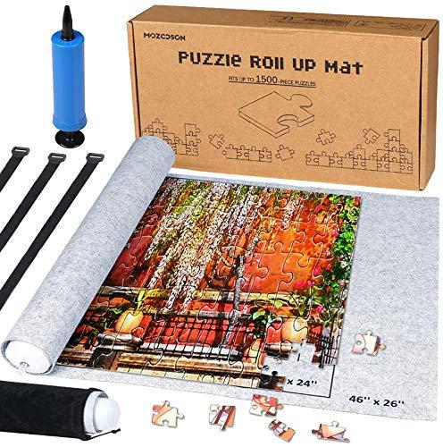 MOZOOSON Puzzlematte für BIS 1500 Puzzle Teile Puzzle Pad Puzzleunterlage Puzzlerolle Puzzleteppich Puzzlematte mit leicht zu fassendem Baize-Befestigungmaterial 66x118cm