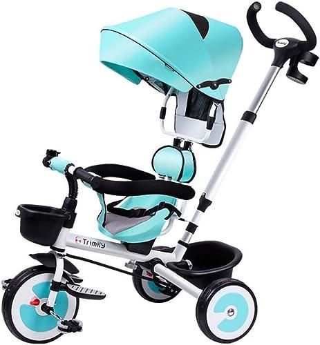 Lhh Bébé Tricycle Vélo avec Auvent Siège Tournant Canne Et Roues Silencieuses pour Enfant 1 à 6 Ans