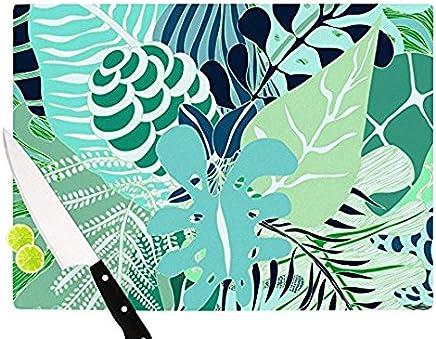 "Kess InHouse""Giungla"" Anchobee Glass Cutting Board, 11 by 7.5"", Green Floral"
